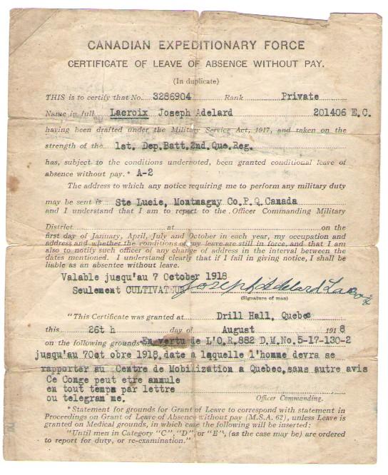 Adelard Lacroix 26-08-1918